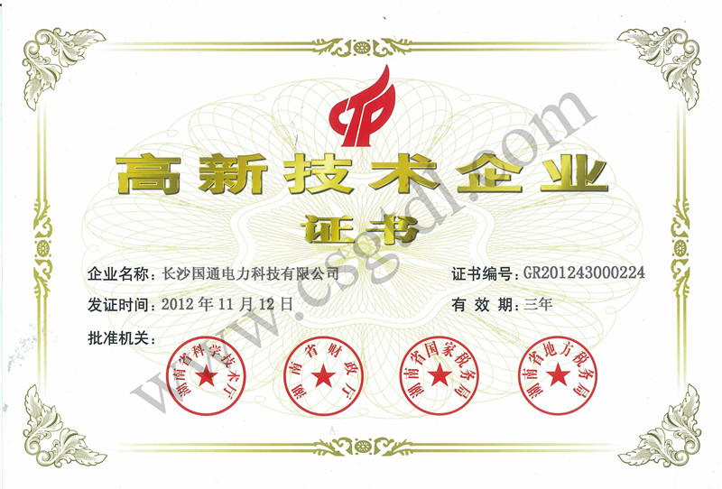 国通电力高新技术企业证书